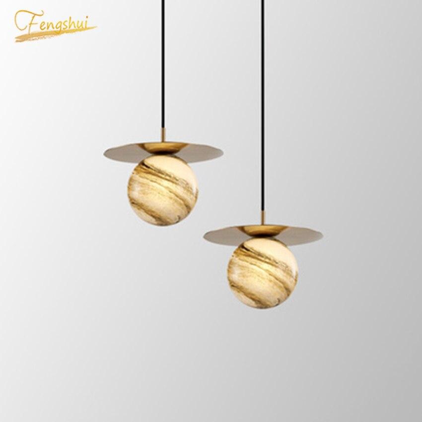 Modern Novel LED Planet Glass Pendant Lights Design Round Bubble Light Cafe Living Room Restaurant Bedroom Bedside Light Fixture