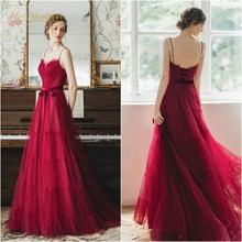 Burgundy Prom Dresses A-Line Sweetheart Neck Sleeveless  Spaghetti Straps Floor Length Lace-Up Bows