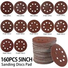"160pcs 125mm 5"" Hook Loop Sanding Paper with 8 Hole Sand Pads Set 40-1000 Grit Sanding Disc Polish Abrasives for Polish Machine"