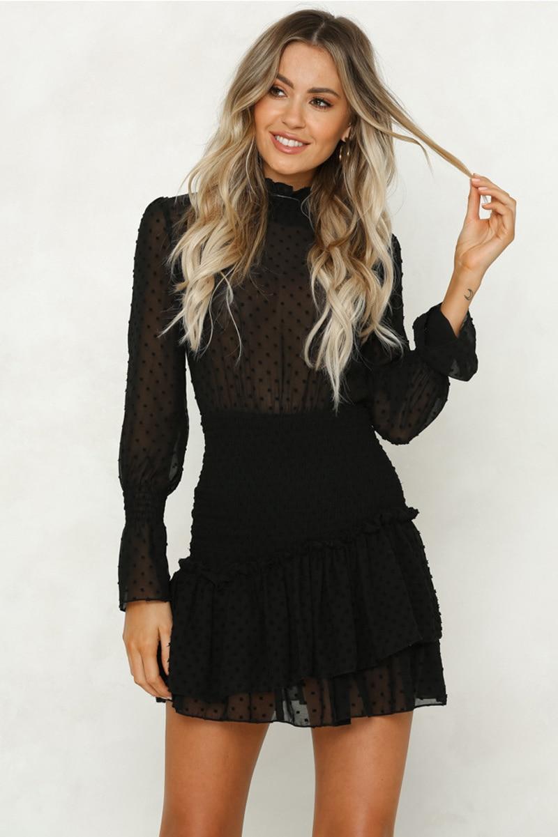 Mini chiffon dresses women long sleeve sexy see through mini princess dress ruffled lady solid autumn aline dress vestidos
