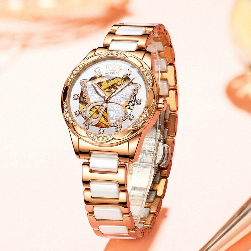 Ladies Mechanical Watch Automatic Hollow Stainless Steel Ceramic Butterfly Women Gold Luminous Quartz Complete Calendar  Luxury