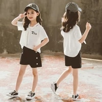 summer girls clothes set children clothing outfits short sleeve tops shorts for kids girls casual suit tracksuit 4 to12 years