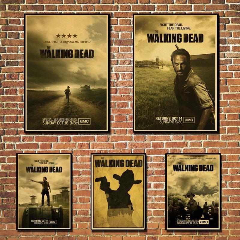 Custom retro Wall Decor The Walking Dead Poster The Walking Dead Wall Stickers Mural Negan Declas Jeffrey Morgan Wallpaper