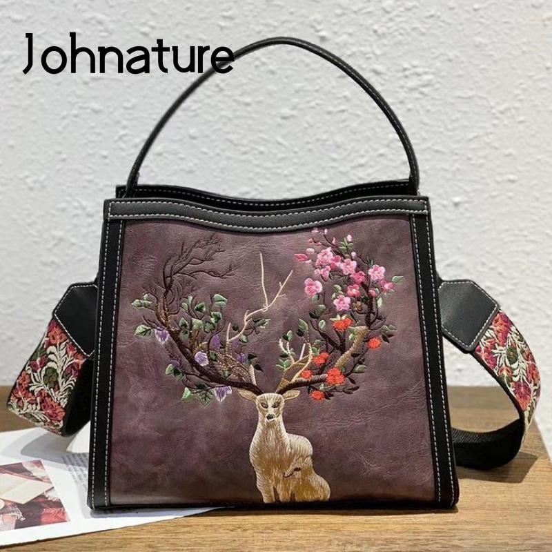 Johnaté-حقيبة يد نسائية مطرزة على الطراز الصيني ، حقيبة يد كبيرة السعة ، حقيبة كتف جلدية ريترو مصنوعة يدويًا ، مجموعة جديدة 2021