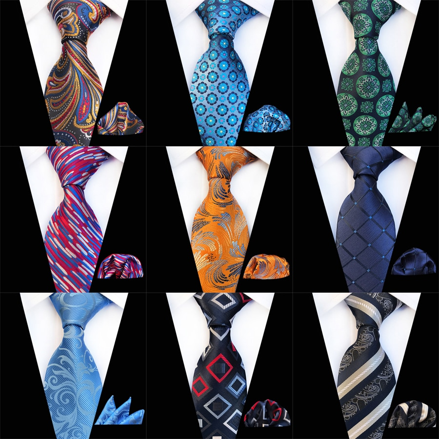 2019 novos vários homens conjunto de gravata clássico poliéster seda negócios casamento floral listrado laços lenço conjuntos bolso gravata quadrada