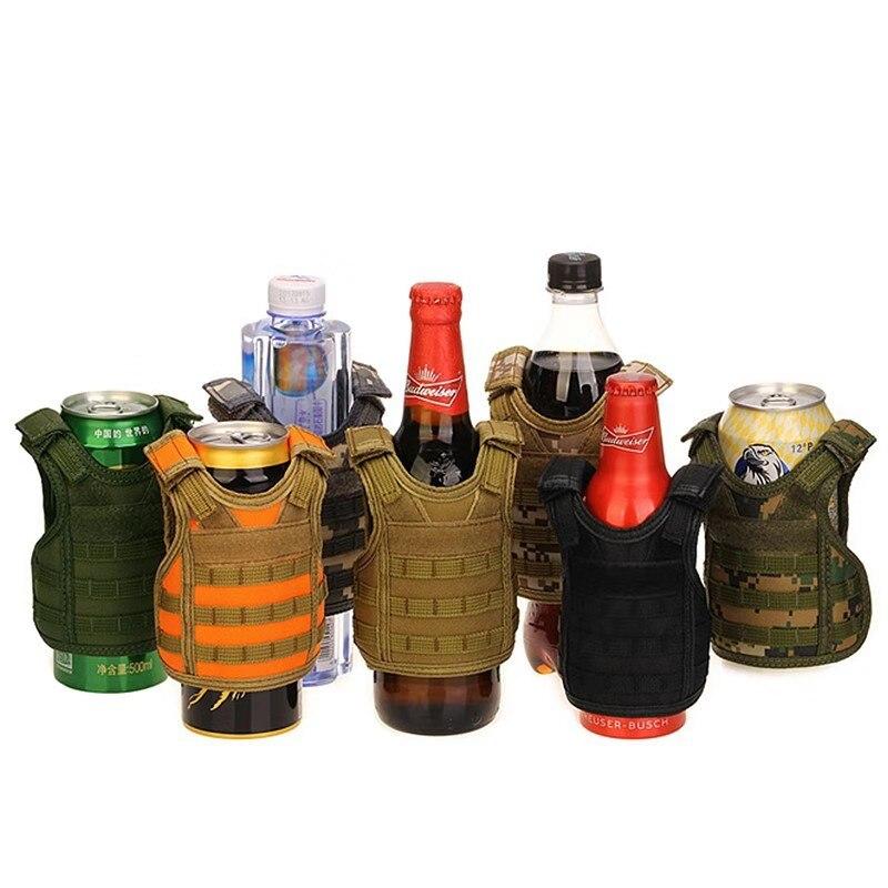 Táctico botella de cerveza chaleco militar Mini miniatura Molle chaleco botella personal bebida conjunto ajustable correas de hombro