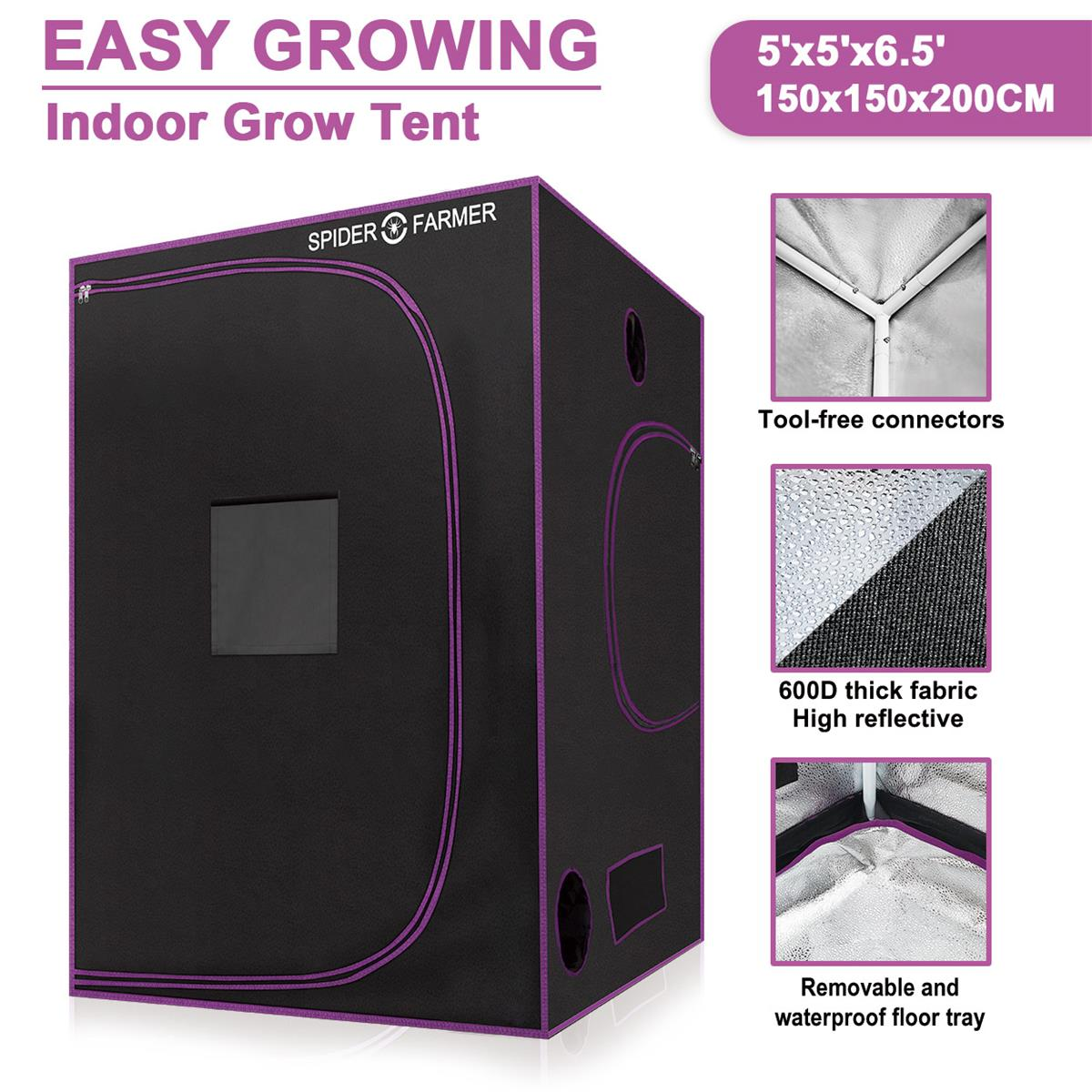 Örümcek çiftçi 5 \'x 5 \'\'150x150x200 cm büyümek çadır kapalı ışık büyümeye yol açtı hidroponik yansıtıcı Oxford su geçirmez malzeme odası kutusu