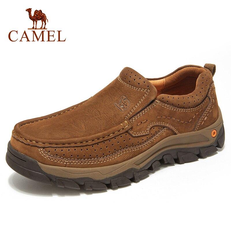 CAMEL-أحذية كاجوال مريحة للرجال من الجلد الطبيعي غير اللامع ، أحذية مقاومة للاهتراء ، أدوات ، عصرية