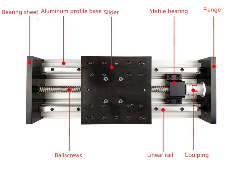 GX155*150 Ball screw 1605 1610 100mm-800mm Travel double blocks Linear Guide CNC Stage Linear Motion Module Linear