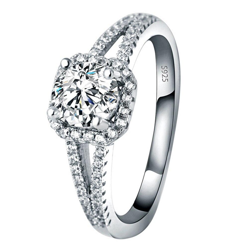 Natural Square Diamond 925 Sterling Silver Womens Ring Jewelry Bizuteria Gemstone Bijoux Femme Rings Box