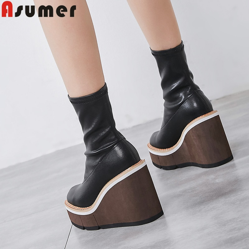 ASUMER 2021 جديد حذاء من الجلد للنساء جولة تو الخريف الشتاء الأحذية منصة أسافين أحذية السيدات حفلة موسيقية الأحذية