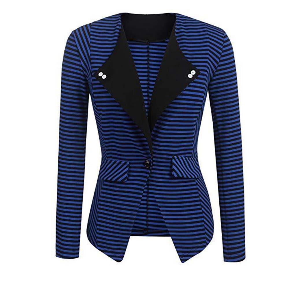 Chaqueta blazer de moda a rayas para mujer, chaqueta elegante informal entallada, blazer terno blaser d91207