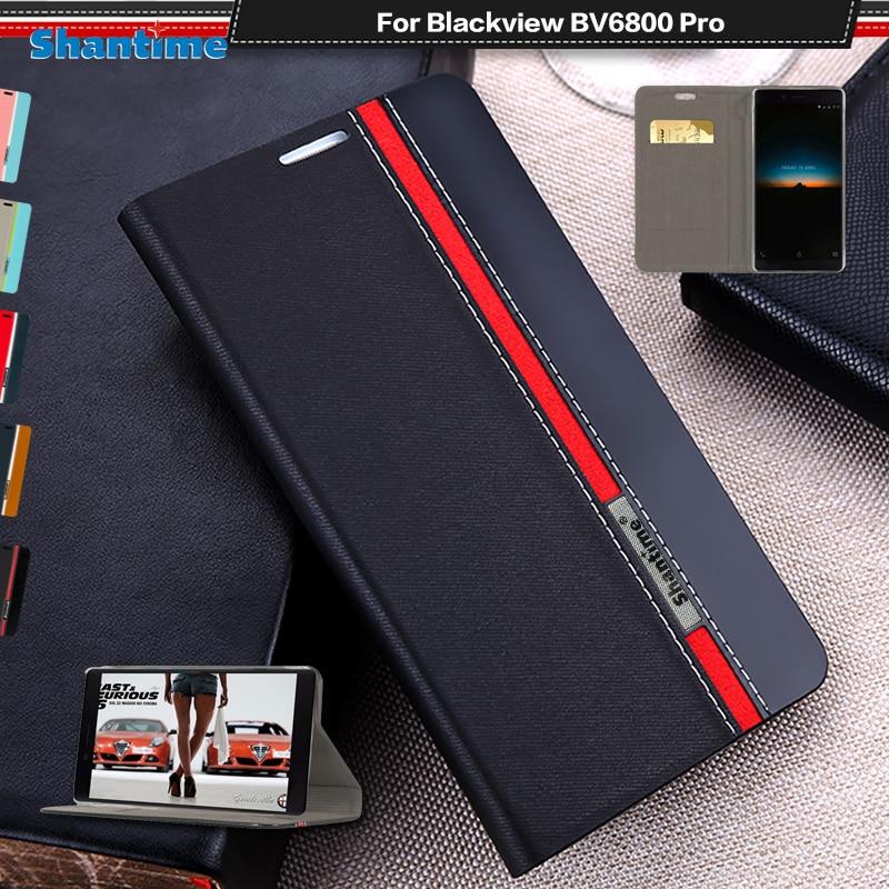 Funda de teléfono de cuero de poliuretano para Blackview BV6800 Pro, funda de libro con tapa para Blackview BV6800 Pro, funda de negocios, funda trasera de silicona suave