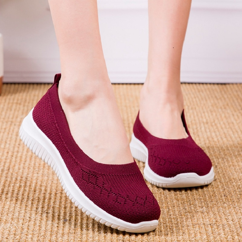 My-Love New Women Vulcanized shoes summer Mesh breathable casual flats sneakers ladies knitting shallow Comfort Walking shoes
