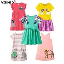 VIDMID-robes à manches courtes pour filles   Vêtements en coton, tenues à rayures arc-en-ciel pour enfants