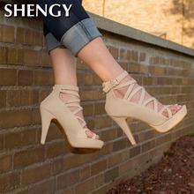 2020 été femmes talons hauts sandales plate-forme bout ouvert Stiletto fête mariage chaussures Sexy croix à bretelles gladiateur dames pompes