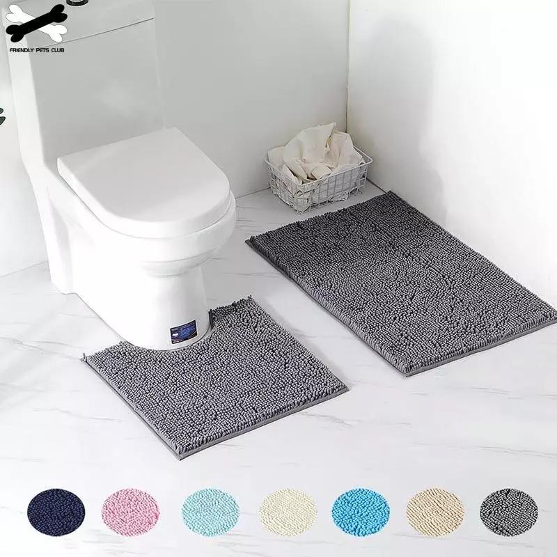 2ps-set أشعث الشنيل الحمام طقم سجادة/ حصيرة ماصة وآلة قابل للغسل تناسب المرحاض حوض الاستحمام غرفة المعيشة باب الحمام القدم