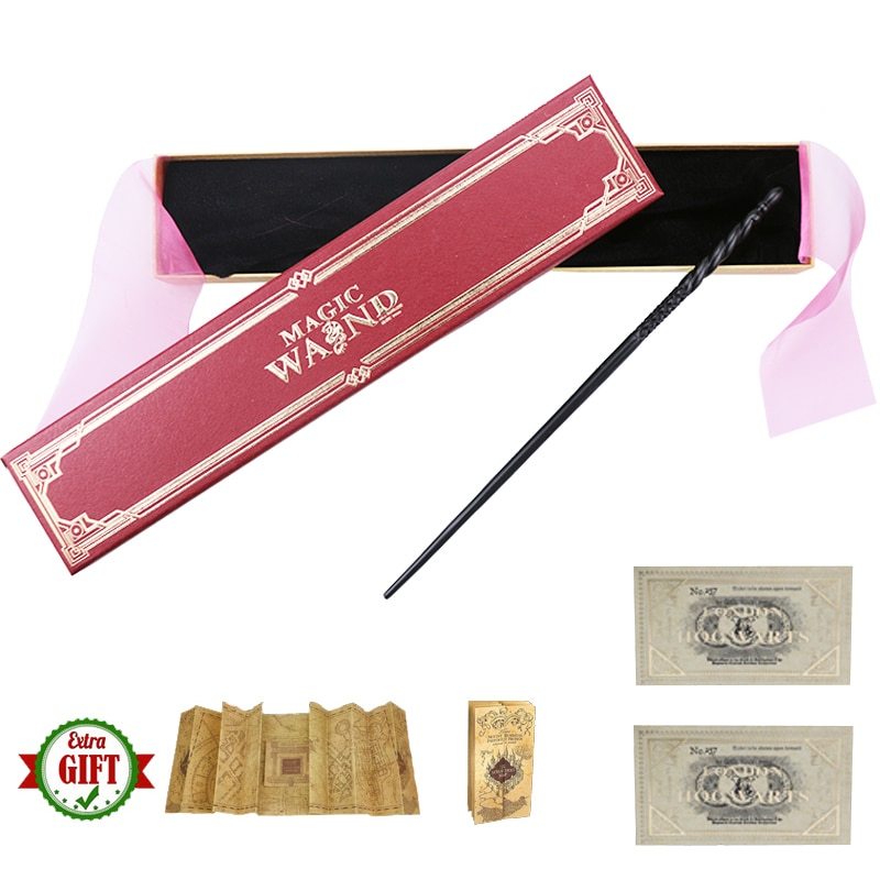 New Metal Core Ginny Magic Wands Cosplay Lucius Dumbledore Voldemort Ron Hermione Magical Wand Harried Red Ribbon Box with Gifts