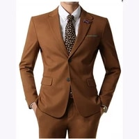 brown men suits two buttons business wedding men suit terno masculino 2018 slim fit custume homme mens suits jacketpants