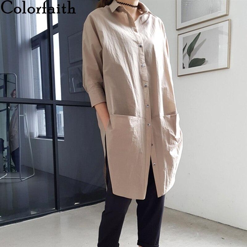 Colorfaith, novedad de Primavera Verano 2020, blusa para mujer, camisas informales de una sola hilera de botones, bolsillos de tres cuartos, Camisetas largas sueltas, BL6003