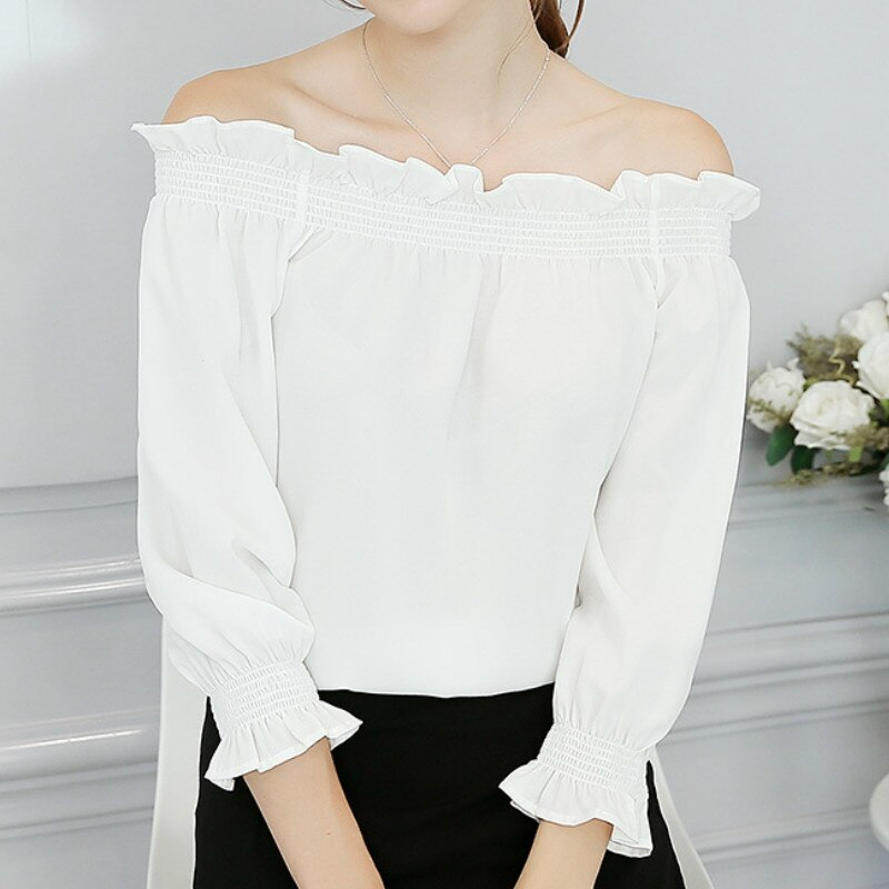Nova primavera blusa feminina outono estilo coreano chiffon camisa verão blusas elegantes slash fora sholder tops camisas plus size
