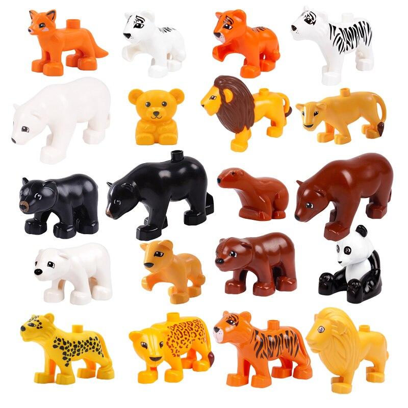 Accesorios para animales, bloques de construcción de gran tamaño, figuras de Tigre, León, oso, Panda, compatibles con juguetes Duploed para niños, regalos para niños