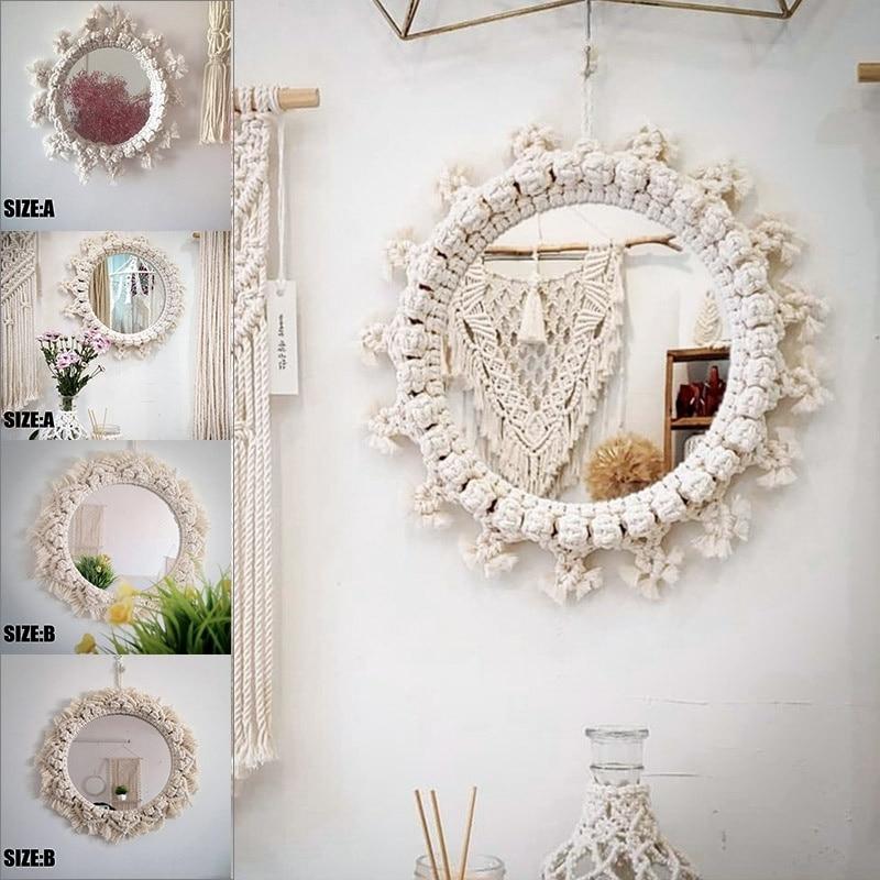 Beige Bohemian Tapestry Spiegel Macrame Hand Gemaakt Katoenen Touw Opknoping Ronde Spiegel Home Muur Kamer Decoratie