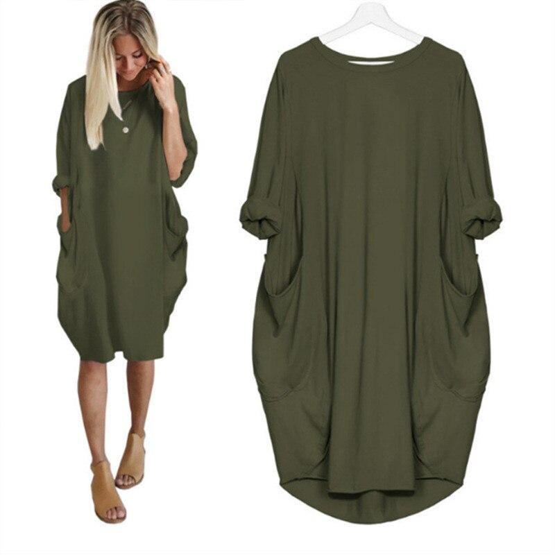 Весенне-осеннее женское повседневное свободное платье с карманами и длинным рукавом размера плюс, модное однотонное платье с круглым вырезом