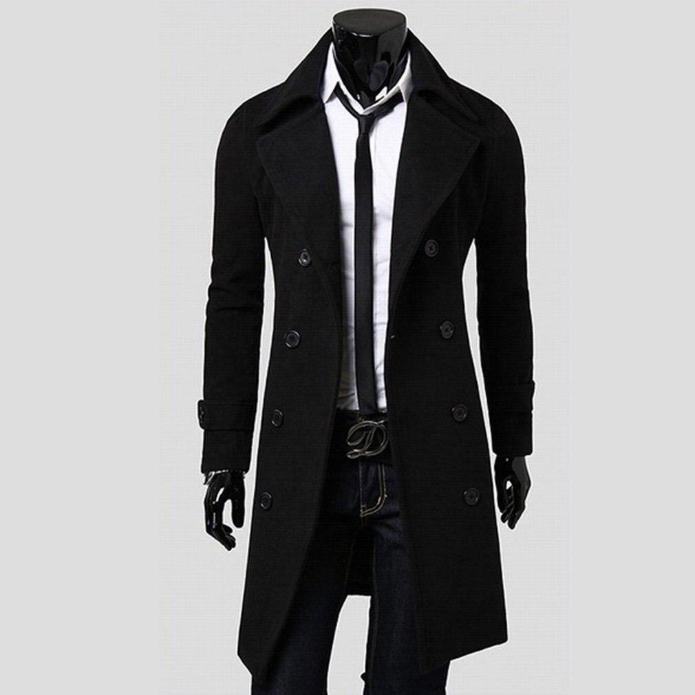 Mode hommes couverture longue manteau automne vêtements de sortie dhiver couleur unie veste double boutonnage all-match mâle pardessus