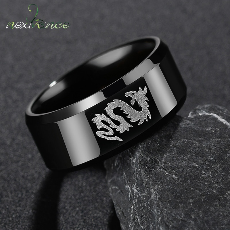 Nextvance Stainless Steel Classic Style Black Ring Chinese Dragon And Wolf Head Ring Boy Boyfriend W