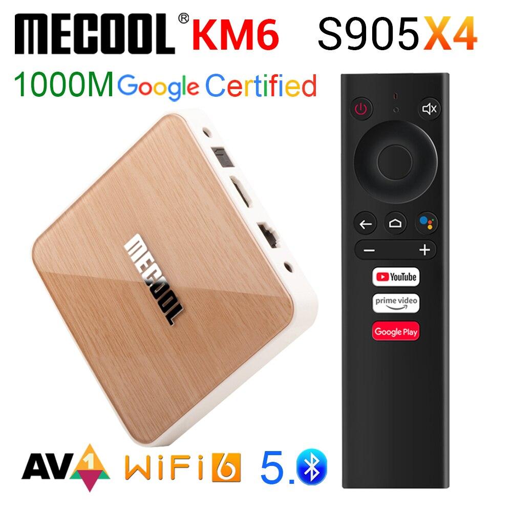 صندوق التلفزيون أندرويد 10 4g 64gb MECOOL KM6 ديلوكس 11 واي فاي 6 شهادة جوجل 8K 6k صوت Amlogic S905X4 1000M LAN الذكية tvbox