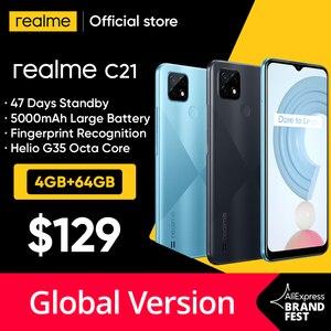 [Мировая премьера в наличии] глобальная версия realme C21 смартфон Helio G35 Octa Core 64 Гб 6,5