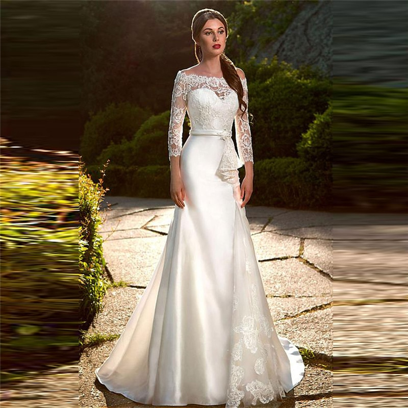 Review Quarter Sleeves Lace Mermaid Wedding Dress Elegant Satin With Ribbon Simple Custom Online Bridal Gowns 2021 Trumpet Bride Wear