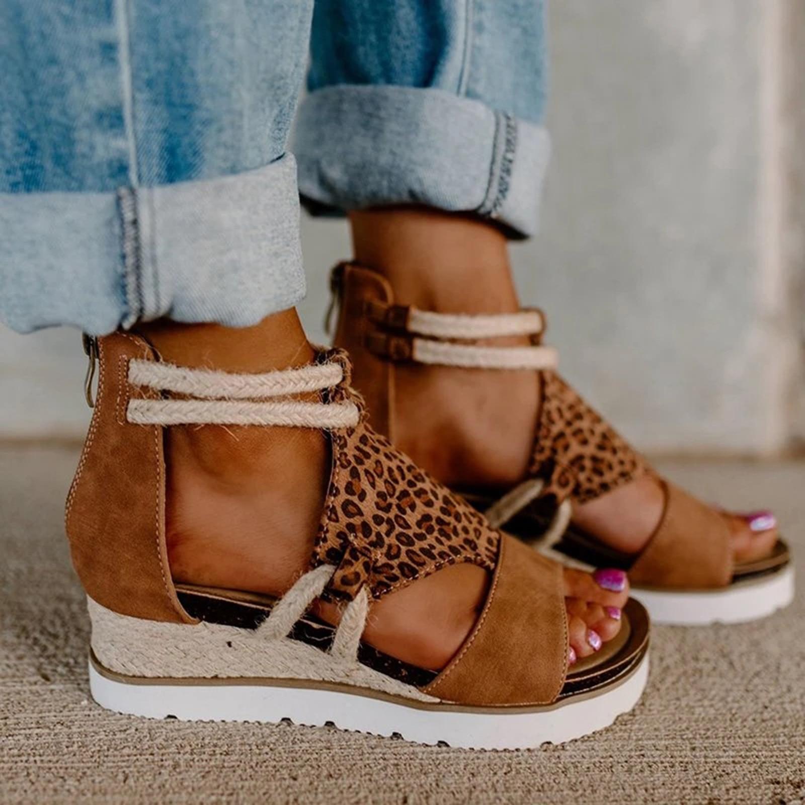 Sandalias de Tacón de Cuña para mujer y zapatos de punta abierta...