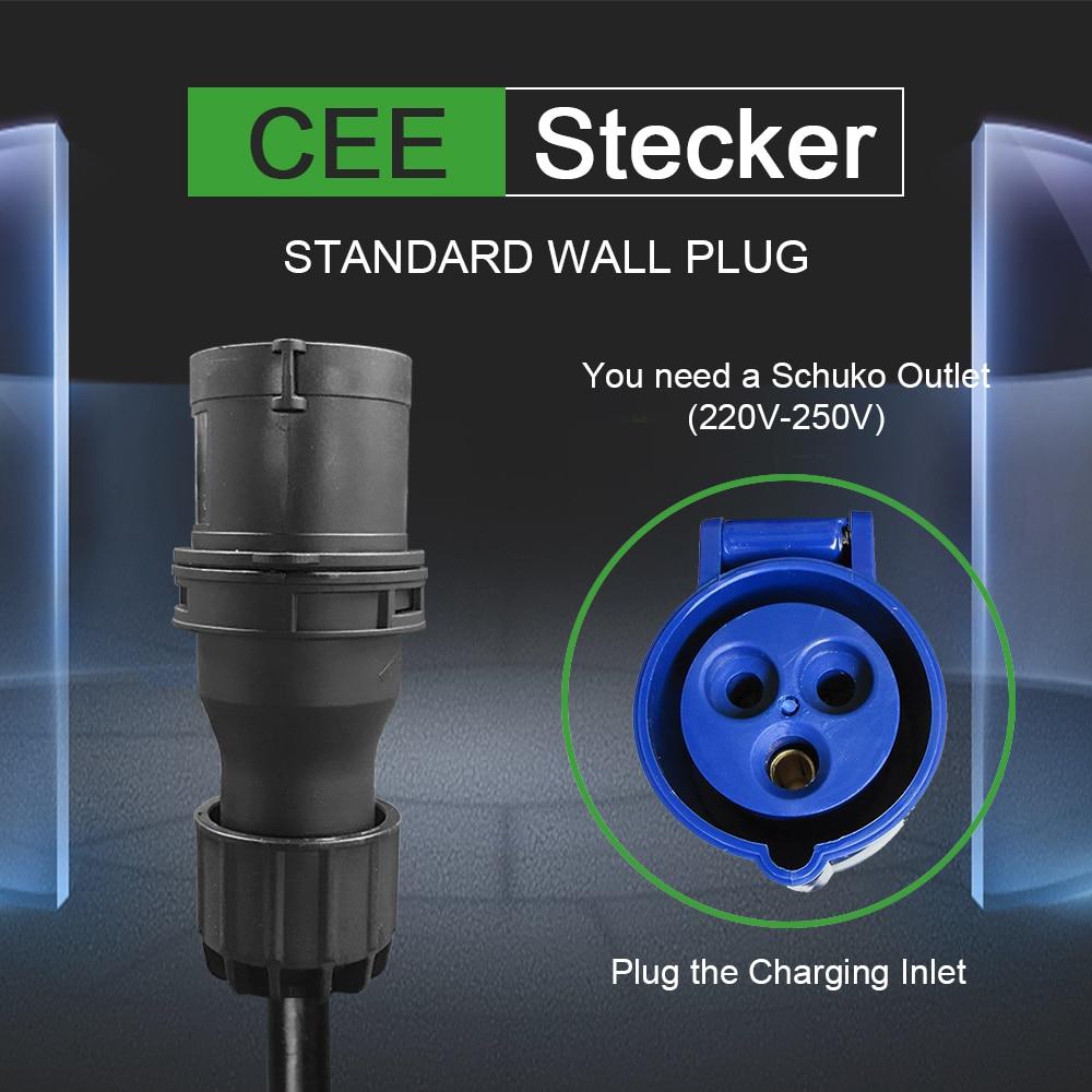 IEVISON Type 2 EV Charger Level  32 Amp Portable Electric Vehicle  CEE Plug 220V-240V  EVSE Car Charging Cable, IEC 62196-2 6M enlarge