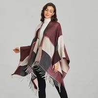 fashion vintage womens scarf shawl wraps split tassel cloak pashmina female winter thick warm poncho oversized blanket capes