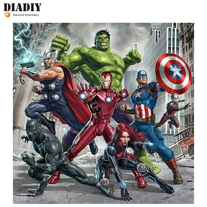 DIADIY Diy 5D Diamond Painting Cross Stitch Avenger Super Hero Diamond Embroidery Pattern Full Drill Mosaic Home Decor Gift Art