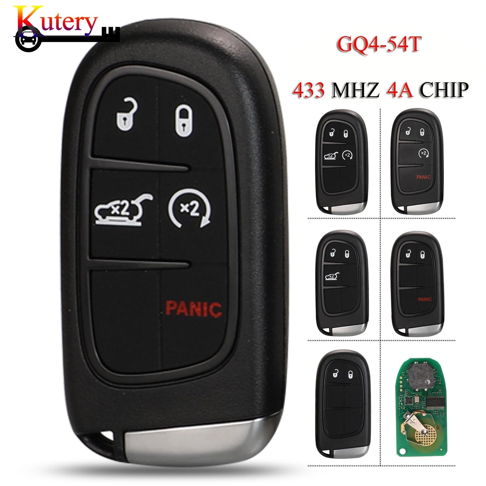 Kutery 5 pçs/lote remoto inteligente keyless ir chave do carro para jeep cherokee dodge ram durango chrysler 433mhz 4a pcf7938x chip GQ4-54T