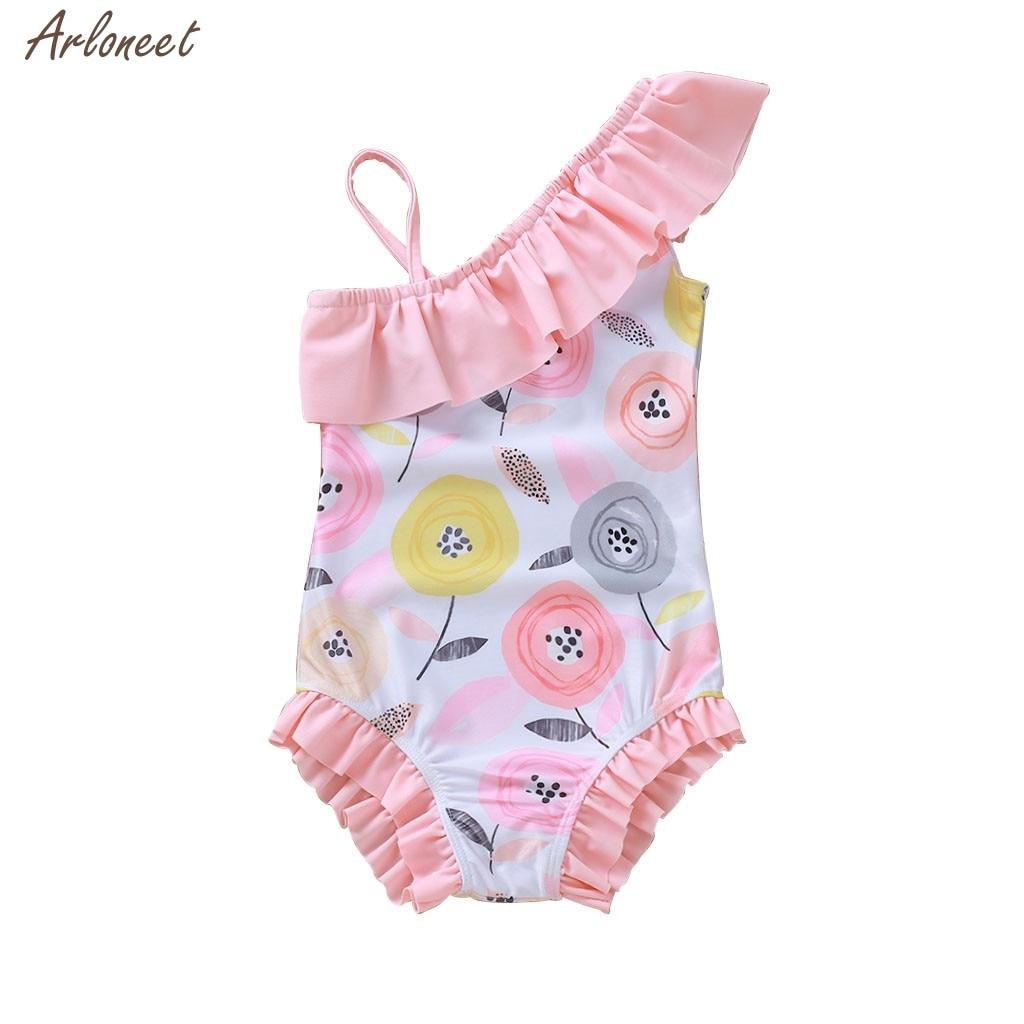 Traje de baño para niñas, niños pequeños, bebés, niñas, flores, Bikini, traje de baño, mameluco, moda para bebés