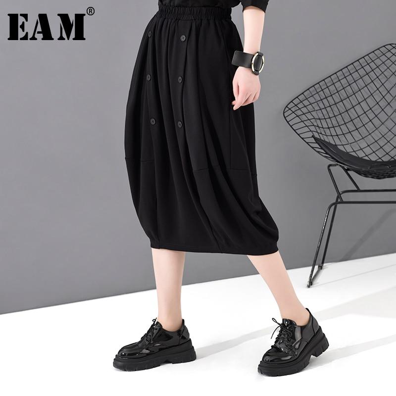 [EAM] High Elastic Waist Black  Button Split Joint Temperament Half-body Skirt Women Fashion Tide New Spring Autumn 2020 1S788