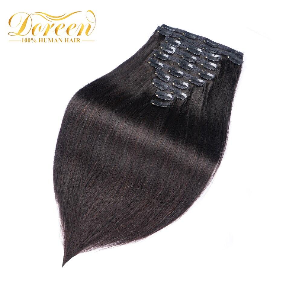 Doreen 160G 200G máquina brasileña hecha Remy recta Clip en extensiones de cabello humano #1 # 1B #2 #4 #8 juego de cabeza completa 10 Uds 16-22