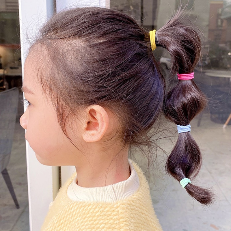 100Pcs/Set Children Girls Hair Bands Candy Color Hair Ties Colorful Basic Simple Rubber Band Elastic Scrunchies Hair Accessories