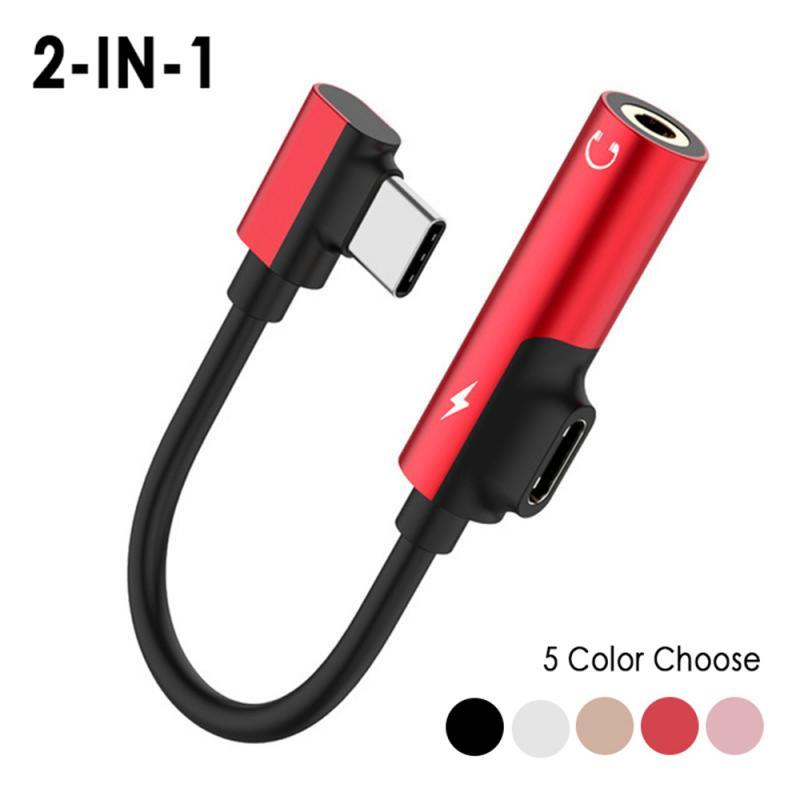 Nuevo Tipo C usb C Cables de Audio a 3,5mm Jack Aux auriculares llamada música carga 2 en 1 Adaptador para Xiaomi Samsung Huawei One plus