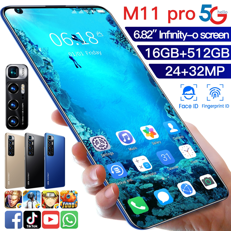 Smartphone XIO M11 PRO 4G 5G LTE 16+512GB Deca Core 6.1Inch Cellphone 5600mAh Fingerprint ID Snapdragon888 Sansumg Mobile Phone