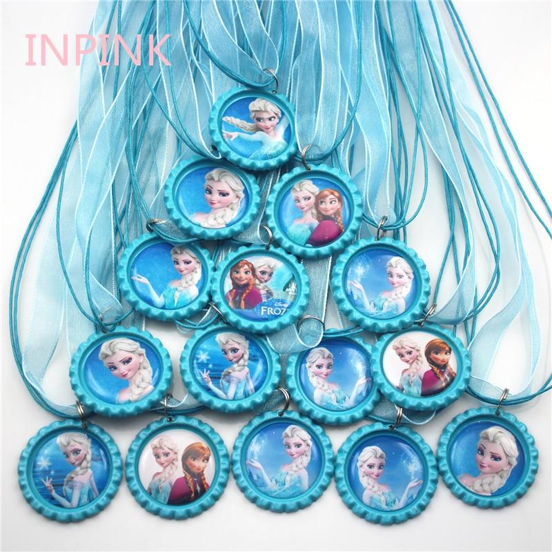 INPINK, juego de 15 collares de cinta con tapa de botella Elsa Anna, gran fiesta, collar grueso rosa, b033