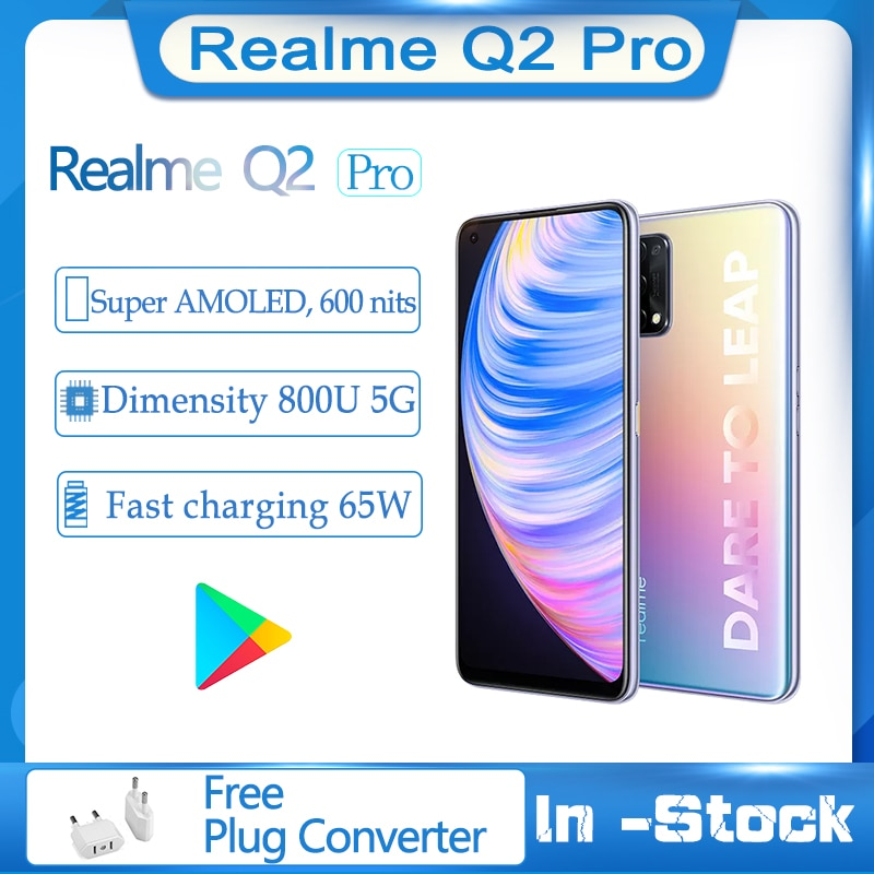Оригина Realme Q2 Pro 5G мобильного телефона 6,4 дюйм FHD + безрамочный экран Super AMOLED, Octa Core, 4300 мА/ч, Батарея 48MP QuadCamera 65W Быстрый Зарядное устройство смартфо...