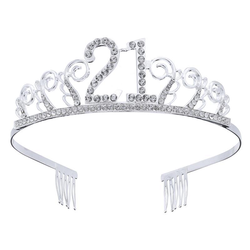 День рождения хрустальный горный хрусталь Тиара королева принцесса короны Выпускной ободок волос гребни шпилька для 21st день рождения пользу