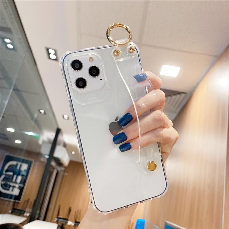 Stoßfest Klar Armband Halter Fall für Samsung S21 Ultra S20 FE S10 5G Hinweis 10 Lite A42 5G A12 A21S 01 11 21 31 41 M31S 51