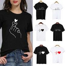 Offre spéciale femmes imprimer coeur T-shirts drôle mains haut col en o blanc noir T-shirts occasionnels dames été à manches courtes t-shirt Simple