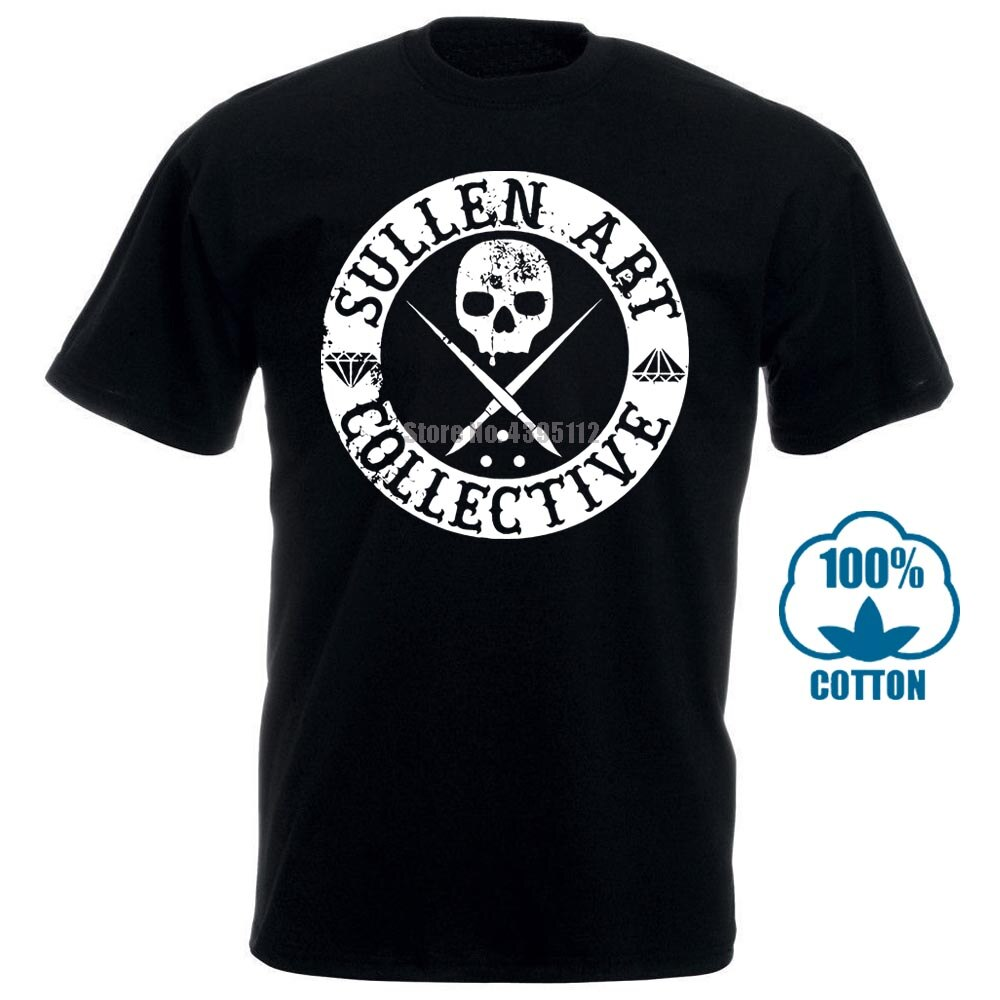 Camisa masculina coletiva de daniel rocha da arte da roupa sullen preto 011354